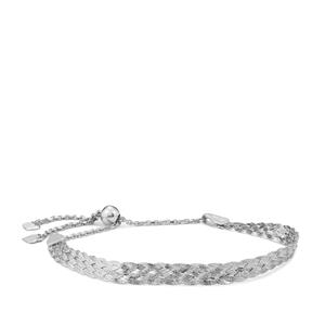 "10"" Sterling Silver Altro Braided Slider Bracelet 4.45g"