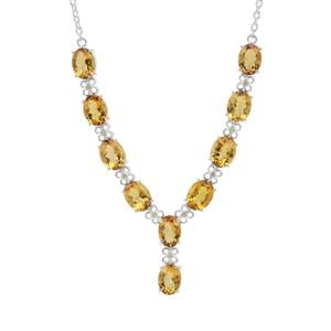 Scapolite Necklace with Yellow Sapphire in Sterling Silver 10.60cts