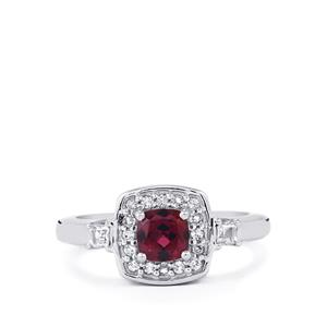 Tocantin Garnet & White Topaz Sterling Silver Ring ATGW 1cts