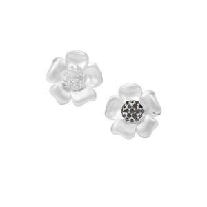 Black Diamond Earrings with White Diamond in Sterling Silver 0.33ct