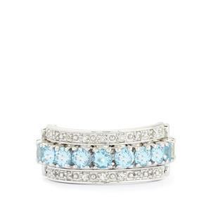 Serenite, Swiss Blue & White Topaz Sterling Silver Reversible Ring ATGW 3.73cts