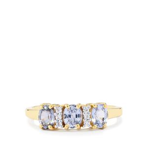 Lilac Sapphire Ring with White Zircon in 10k Gold 1.43cts