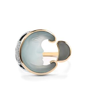 Lehrer Man in the Moon Blue Lagoon Chalcedony & Diamond 10K Gold Ring ATGW 4.19cts