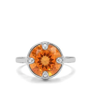 Padparadscha Quartz & White Zircon Sterling Silver Ring ATGW 4.70cts