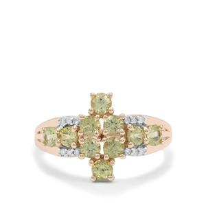 Mansanite™ Ring with Diamond in 9K Gold 1.35cts