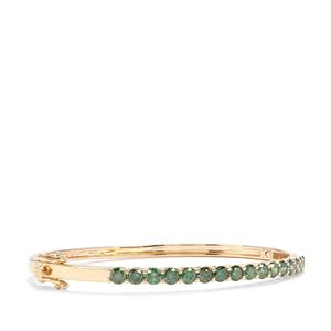 Green Diamond Oval Bangle in 10K Gold 3.05ct