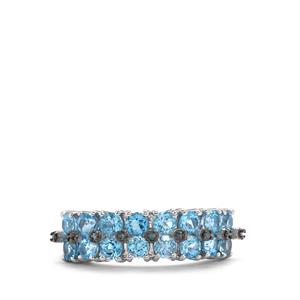 Swiss Blue Topaz & Blue Diamond Sterling Silver Ring ATGW 2.12cts