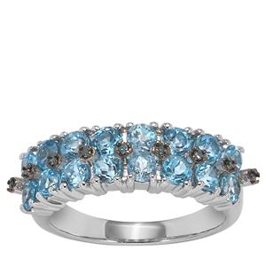 Swiss Blue Topaz Ring with Blue Diamond in Sterling Silver 2.12cts