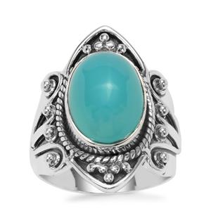 Imperial Aqua Chalcedony Ring in Sterling Silver 6cts