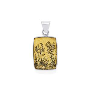 Manganese Dendrite Pendant in Sterling Silver 18cts