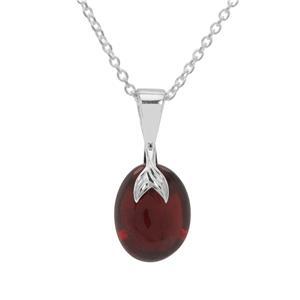 Almandine Garnet Pendant Necklace in Sterling Silver 5cts