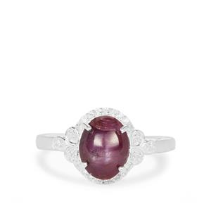 Bharat Star Ruby Ring with White Zircon in Sterling Silver 3.74cts