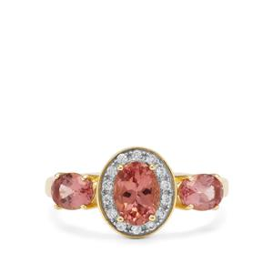 Rosé Apatite & White Zircon 9K Gold Ring ATGW 1.90cts