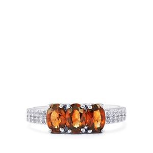 Cinnamon Zircon Ring with White Topaz in Sterling Silver 2.28cts