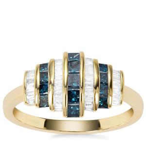 Blue Diamond Ring with White Diamond in 9K Gold 0.76ct