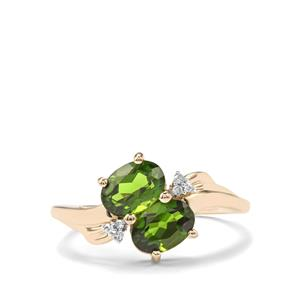 Chrome Diopside & Diamond 10K Gold Ring ATGW 1.83cts
