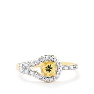 Ceylon Zircon Ring with White Zircon in 10k Gold 0.93cts