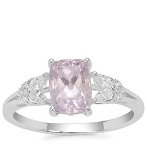 Brazilian Kunzite Ring with White Zircon in Sterling Silver 2.30cts
