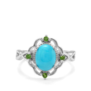 Sleeping Beauty Turquoise & Chrome Diopside Sterling Silver Ring ATGW 1.70cts