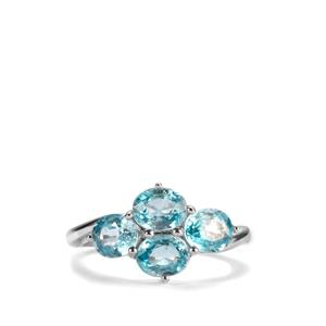 Ratanakiri Blue Zircon Ring in Sterling Silver 4cts