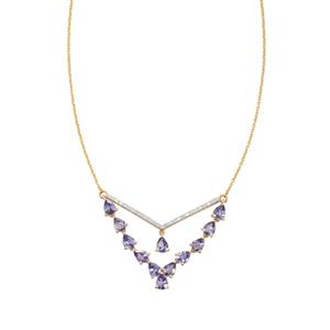 AA Tanzanite Necklace with Diamond in 10k Gold 3.41cts