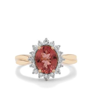 Rosé Apatite Ring with White Zircon in 9K Gold 2.42cts