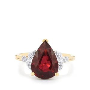Malawi Garnet Ring with Diamond in 14k Gold 4.72cts