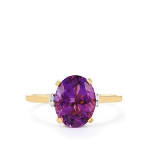 Zambian Amethyst & Diamond 10K Gold Ring ATGW 2.62cts