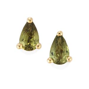 Ambanja Demantoid Garnet Earrings  in 10K Gold 0.55ct