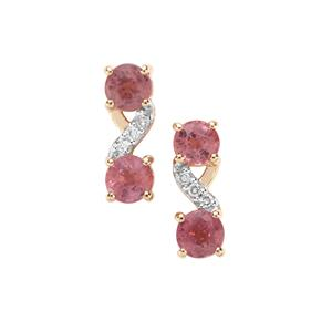 Padparadscha Sapphire Earrings with Diamond in 9K Gold 1.22cts