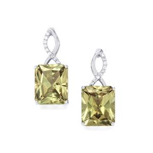 Csarite® Earrings with Diamond in 18k White Gold 13.91cts