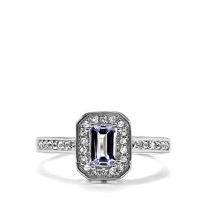 Bi Colour Tanzanite Ring with White Topaz in Sterling Silver 0.71ct