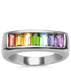 Rainbow Gemstones VIBGYOR Ring in Sterling Silver 1.60cts