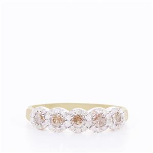1/3ct Champagne & White Diamond 9K Gold Ring