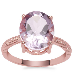 Rose De France Amethyst Ring in Rose Gold Plated Sterling Silver 5cts
