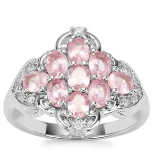 Mozambique Pink Spinel Ring with White Zircon in Platinum Plated Sterling Silver 1.88cts