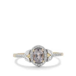 Burmese Grey Spinel Ring with White Zircon in 9K Gold 0.95ct