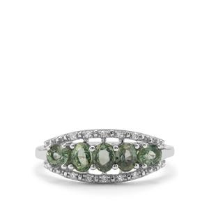 Green Sapphire Ring with Diamond in 9K White Gold 1.29cts