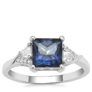 Hope Topaz Ring with White Zircon in Sterling Silver 2.50cts