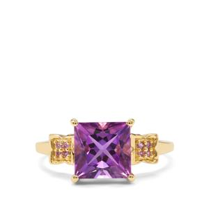 Moroccan Amethyst & Pink Sapphire 9K Gold Ring ATGW 2.46cts
