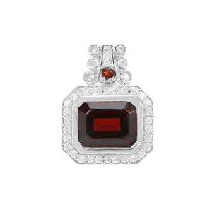 Nampula Garnet Pendant with White Zircon in Sterling Silver 4.58cts