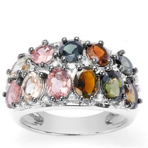 Rainbow Tourmaline Ring with White Zircon in Sterling Silver 3.62cts