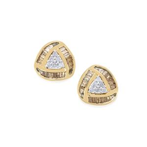 Champagne Diamond Earrings with White Diamond in 10k Gold 0.51ct