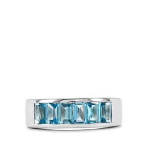 2.18ct Swiss Blue Topaz Sterling Silver Ring