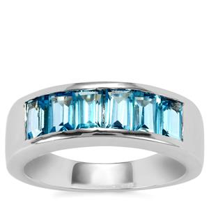 Swiss Blue Topaz Ring in Sterling Silver 2.18cts