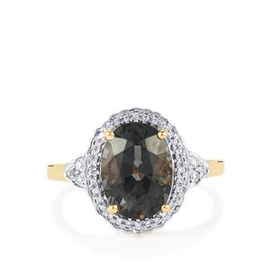 Burmese Spinel Ring with Diamond in 18k Gold 4.05cts