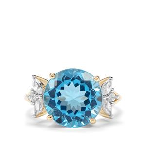 Swiss Blue Topaz & White Zircon 9K Gold Ring ATGW 8.85cts