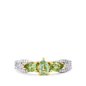 Paraiba Tourmaline Ring with Diamond in 18K Gold 0.97cts