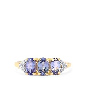 AA Tanzanite Ring with Diamond in 10K Gold 1.33cts