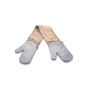 BPA Free Silicone and Cotton Double Oven Gloves - Joined Style